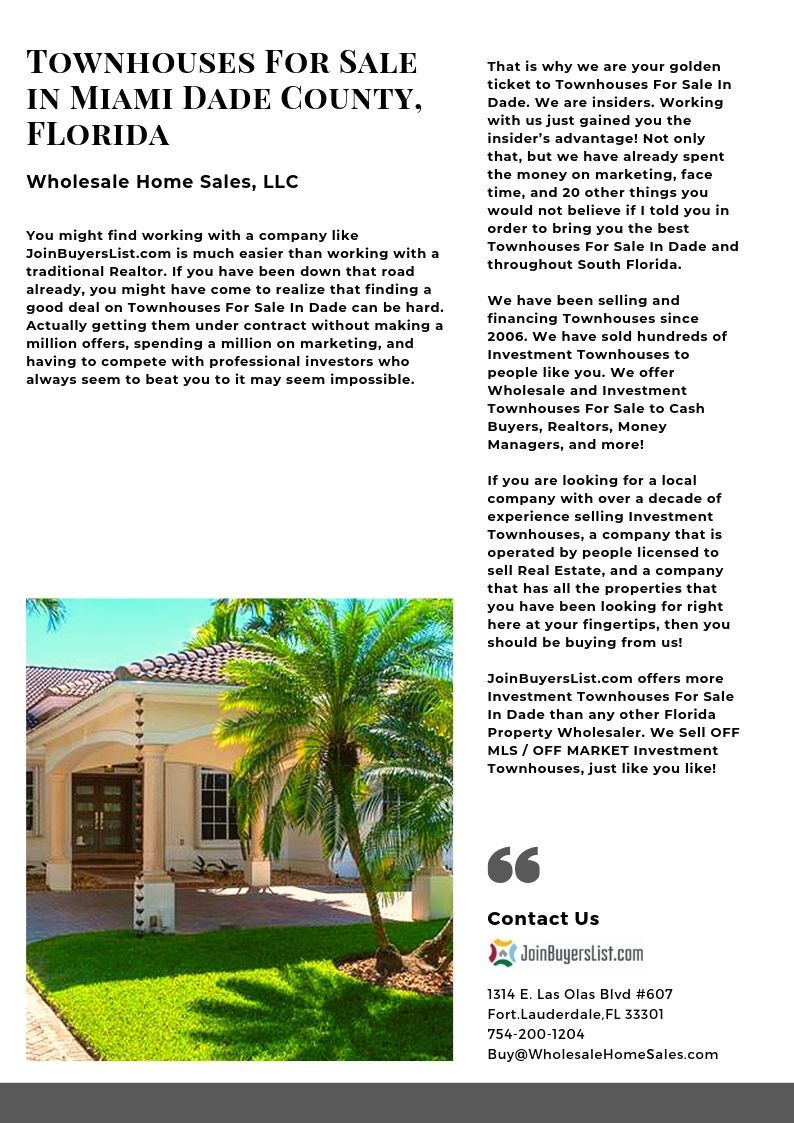 Townhouses For Sale In Miami Dade County Fl Joinbuyerslist Com Townhouse Dade Florida