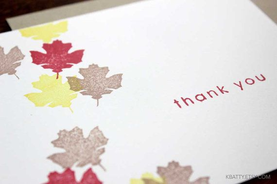 Hand Stamped Autumn Fall Thank You Note Card  with kraft by kbatty, $4.50