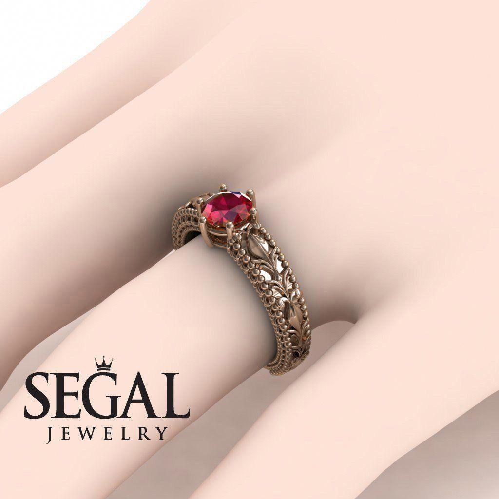 Flower Engagement Ring by Segal Jewelry #rosegoldengagementrings ...
