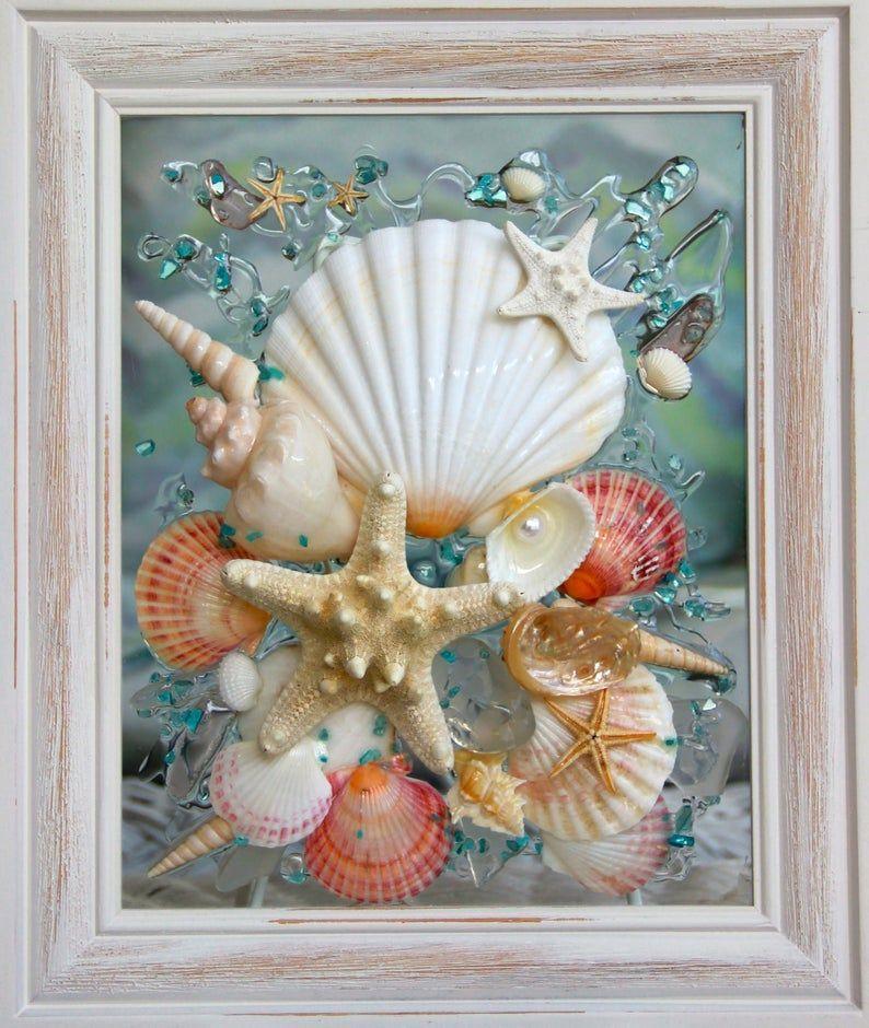 Beach decor of seashell art beach bathroom decor wall