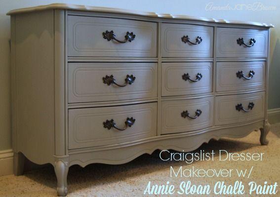 Craigslist Dresser Makeover With Annie Sloan Chalk Paint Amanda Jane Brown Grey Painted Furniture Annie Sloan Vintage Furniture Diy Furniture Diy