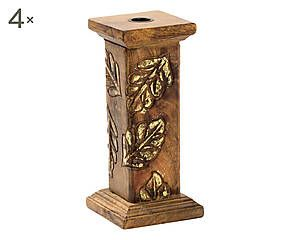 Set di 4 portacandele in legno multicolor - 22x10 cm