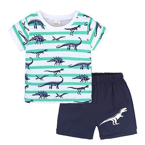 Toddler Kid Baby Boy Outfits Clothes Cartoon Print T-shirt Tops+Shorts Pants Set