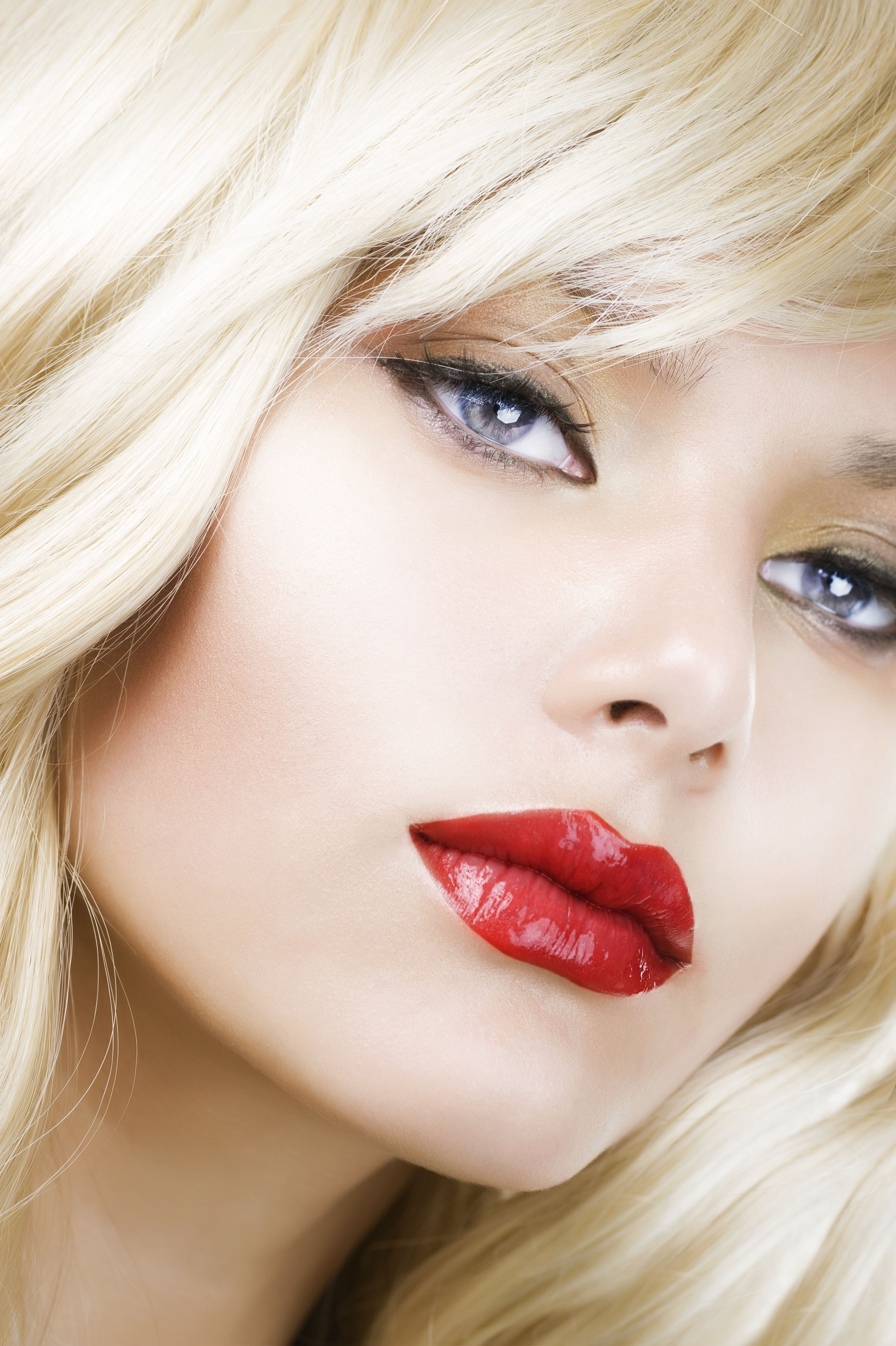 Beautiful Blond Woman Makeup.Red Lipstick.Retro Style ...