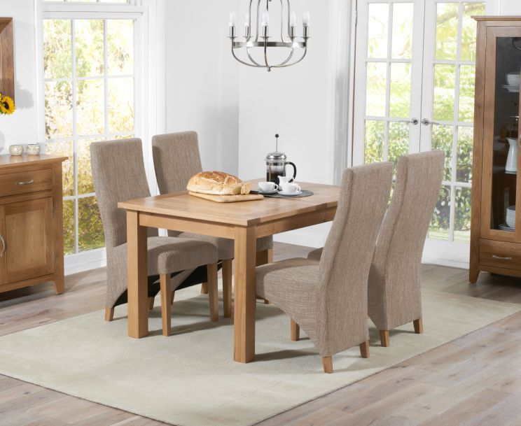 Cheadle 120cm Oak Extending Dining Table With Henley Fabric Chairs