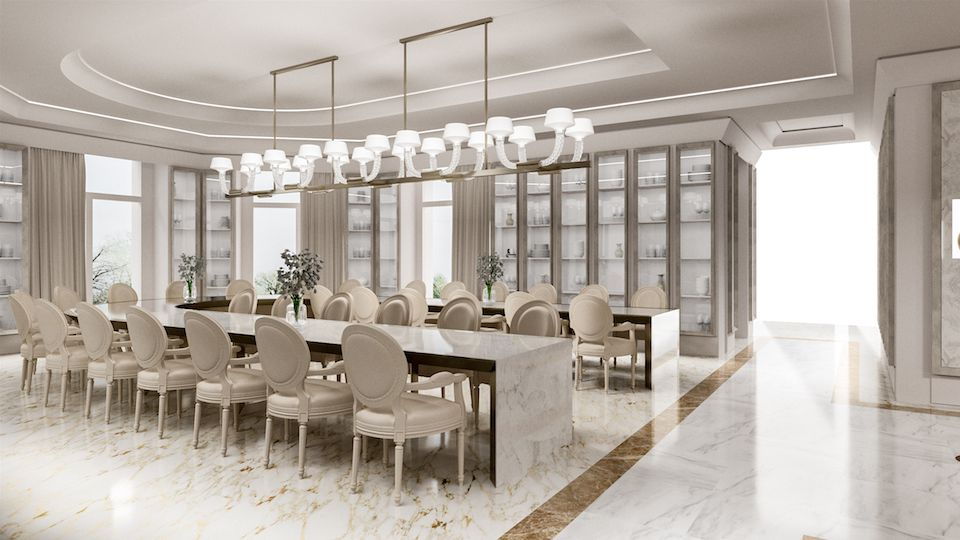 Dining Hall Of A Luxury Villa In Qatar Interior Designing By The Red House