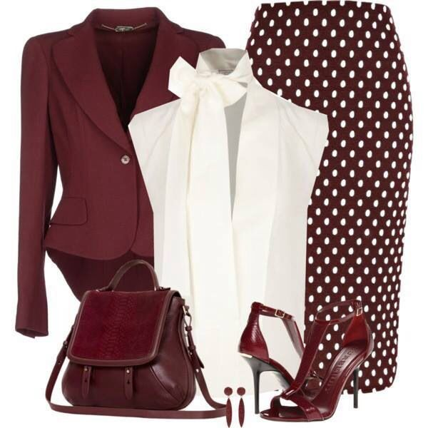e68727edb2 Bordeaux   white  Elegancia  Falda  Elegante  Conjuntos  Traje ...