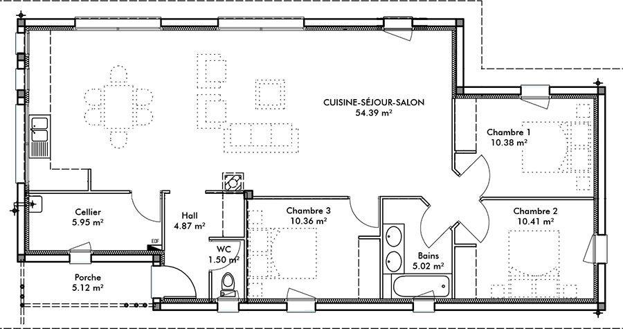Maison Célia 102 m² - Maison moderne - IGC Construction maison - prix construction maison 150m2
