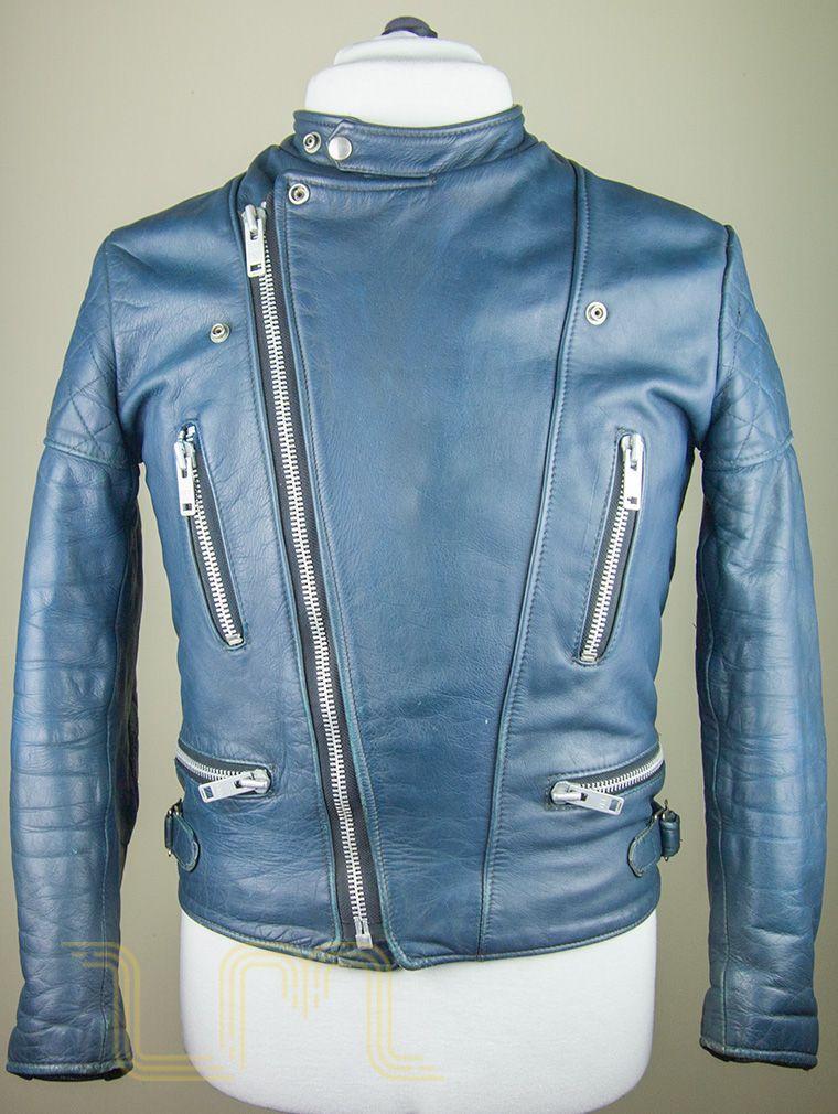 Vintage Wolf Leathers Cafe Racer Blue Leather Biker Jacket image two ... da2554c34d