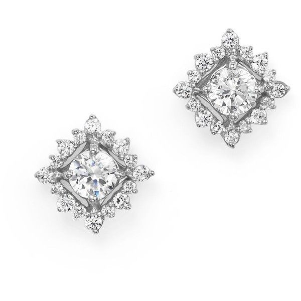 Diamond Stud Earrings with Halo in 14K White Gold, .50 ct. tw. (€890) ❤ liked on Polyvore featuring jewelry, earrings, white, 14k diamond earrings, white stud earrings, diamond jewelry, 14 karat gold earrings and white gold earrings
