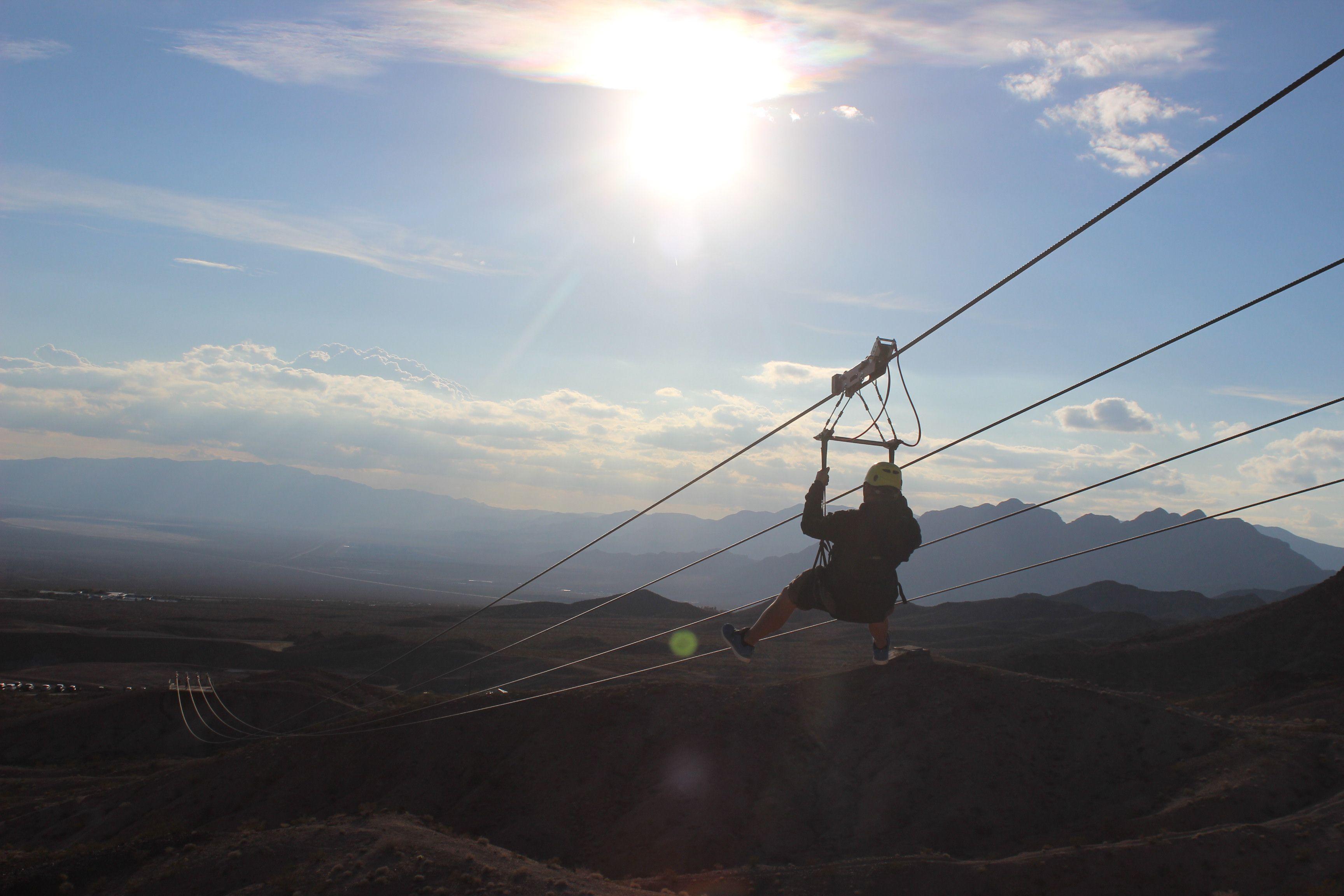 zipline over Mojave Desert