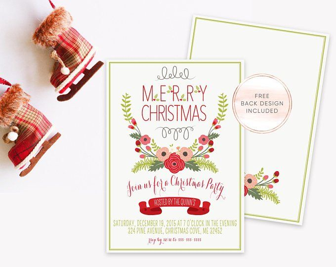 Holiday Party Invitation - Merry and Bright Christmas Invite - Yule ...