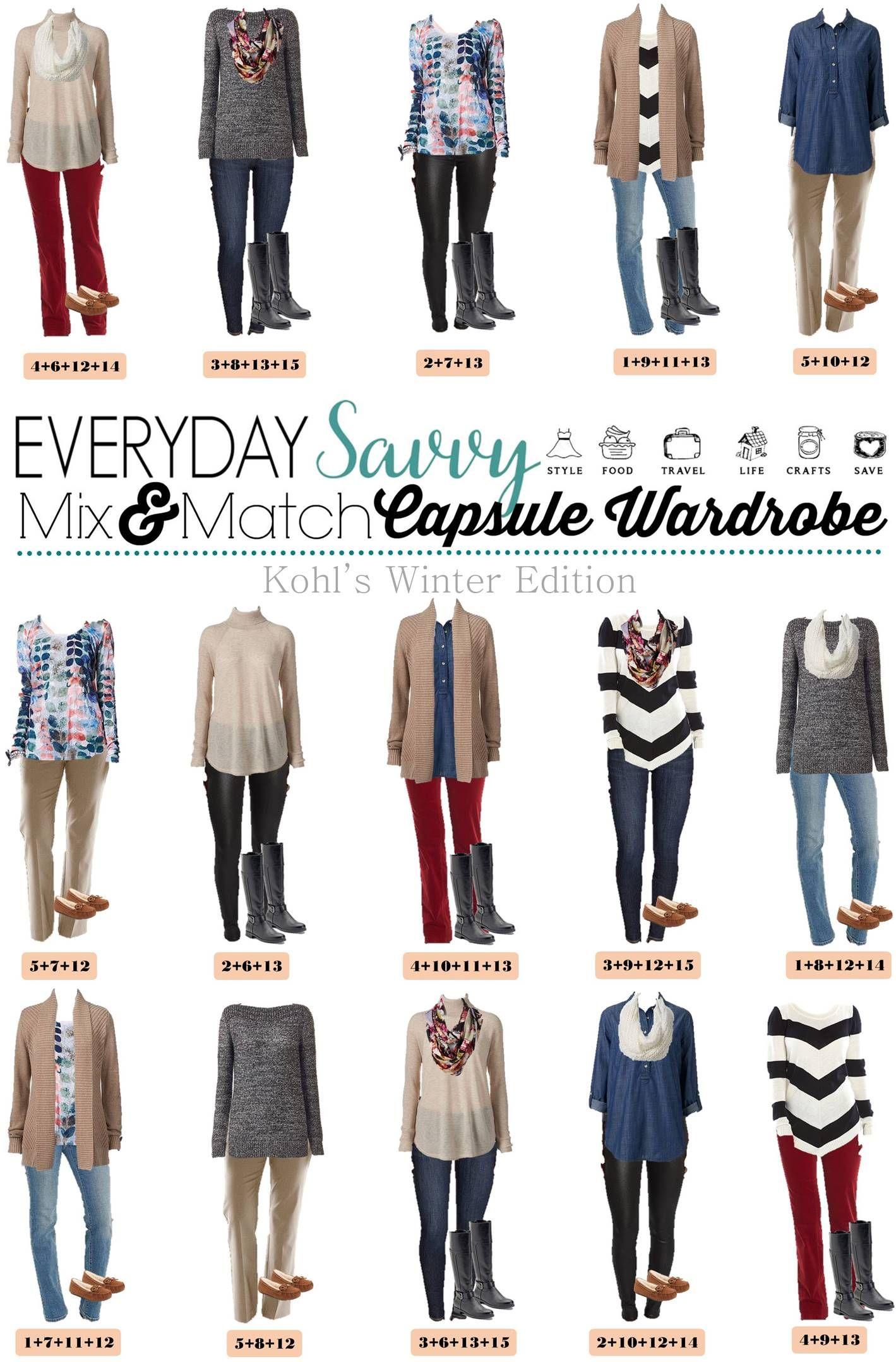 mix and match kohls winter capsule wardrobe capsule