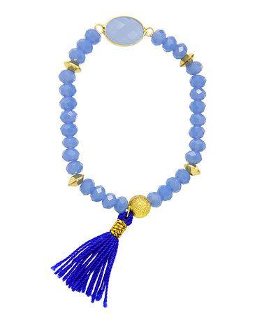 Another great find on #zulily! Blue Beaded Tassel Stretch Bracelet #zulilyfinds