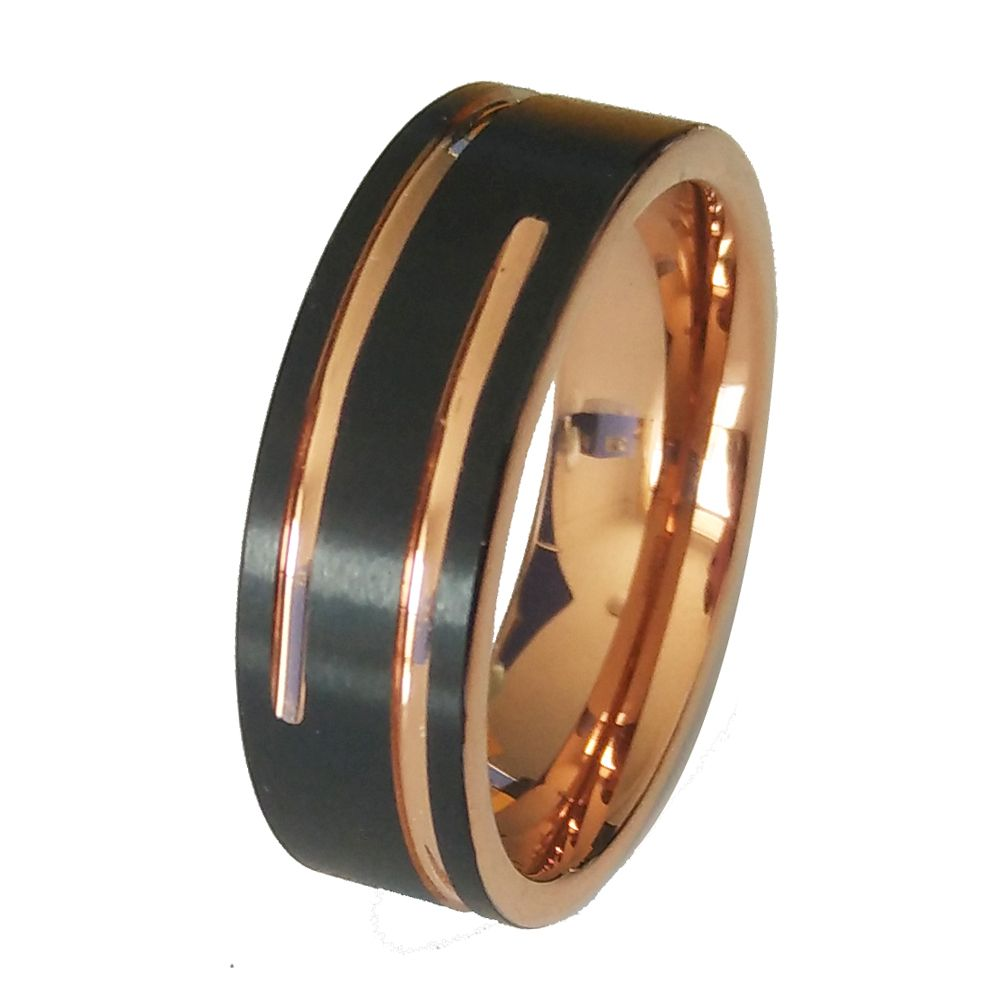 Sale Soul Men 8mm Black With Rose Gold Color Ring For Male Tungsten Wedding Band Fort Mens Rings: Color Man Wedding Band At Reisefeber.org