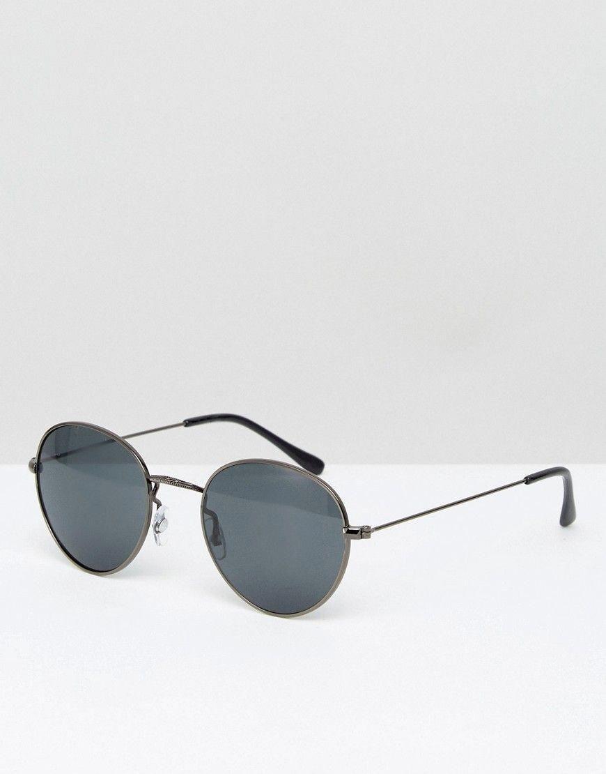 4a23cb56f9 ASOS Metal Round Sunglasses In Gunmetal - Gray  Mensaccessories ...