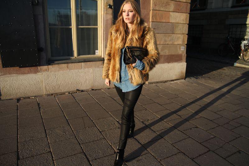 H faux fur. AMERICAN APPAREL denim shirt. ZARA pants. REBECCA MINKOFF bag. DIN SKO shoes.