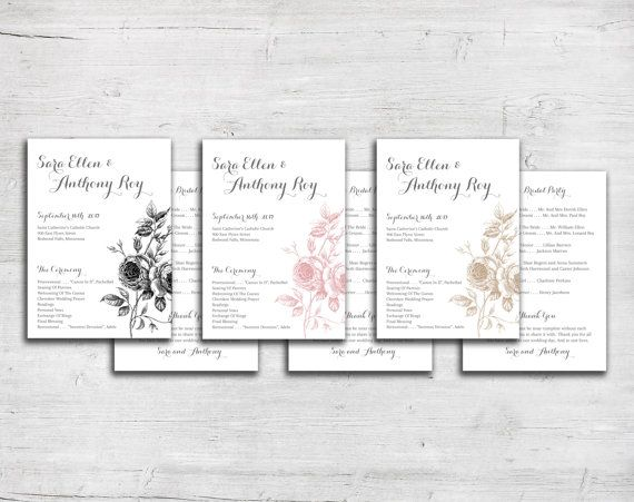 sketched roses flower drawing wedding program hand sketch