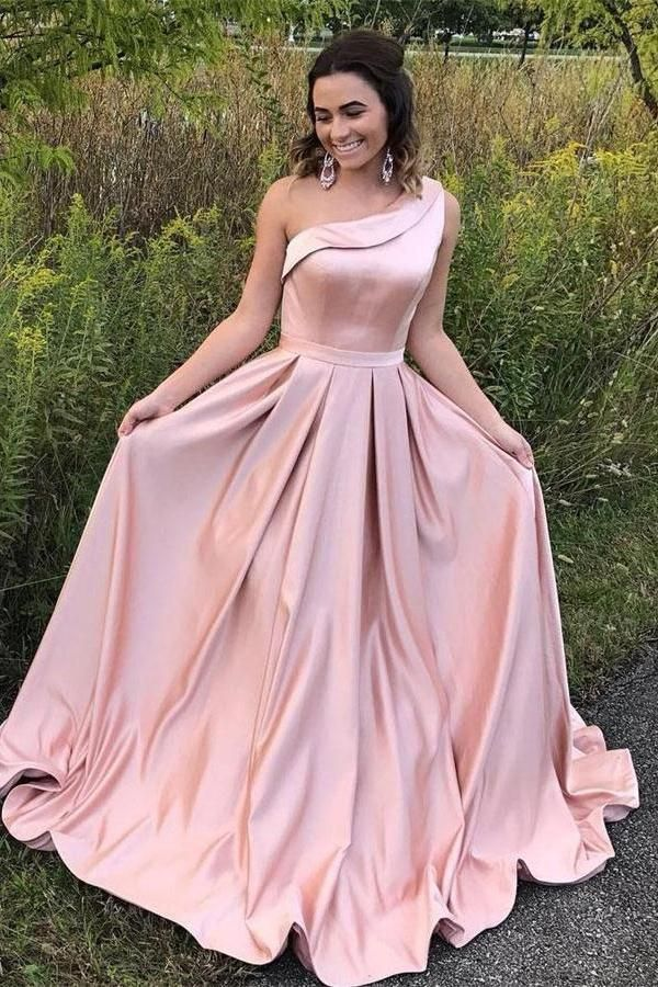 Simple Elegant One Shoulder Pink Box Pleated Prom Dress with Pockets ...