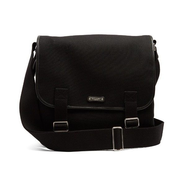 5fbaef25297 Saint Laurent Canvas and leather messenger bag (3,730 SAR) ❤ liked on  Polyvore featuring