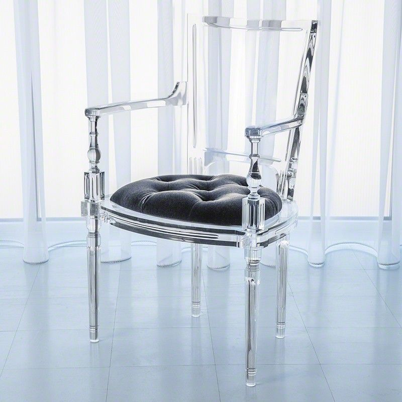 global views acrylic chair with pewter grey upholstered seat
