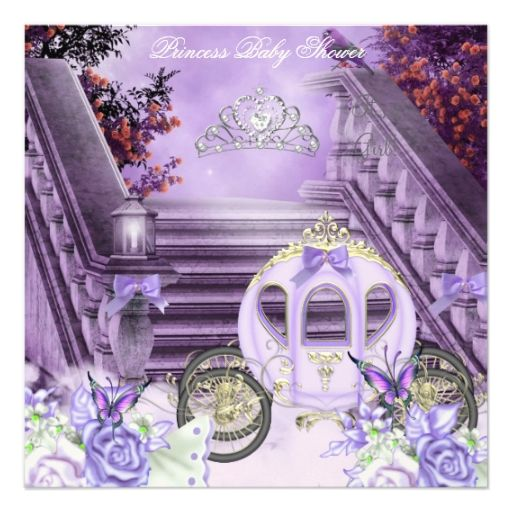 Baby Shower Girl Princess Carriage Lavender Custom Invites
