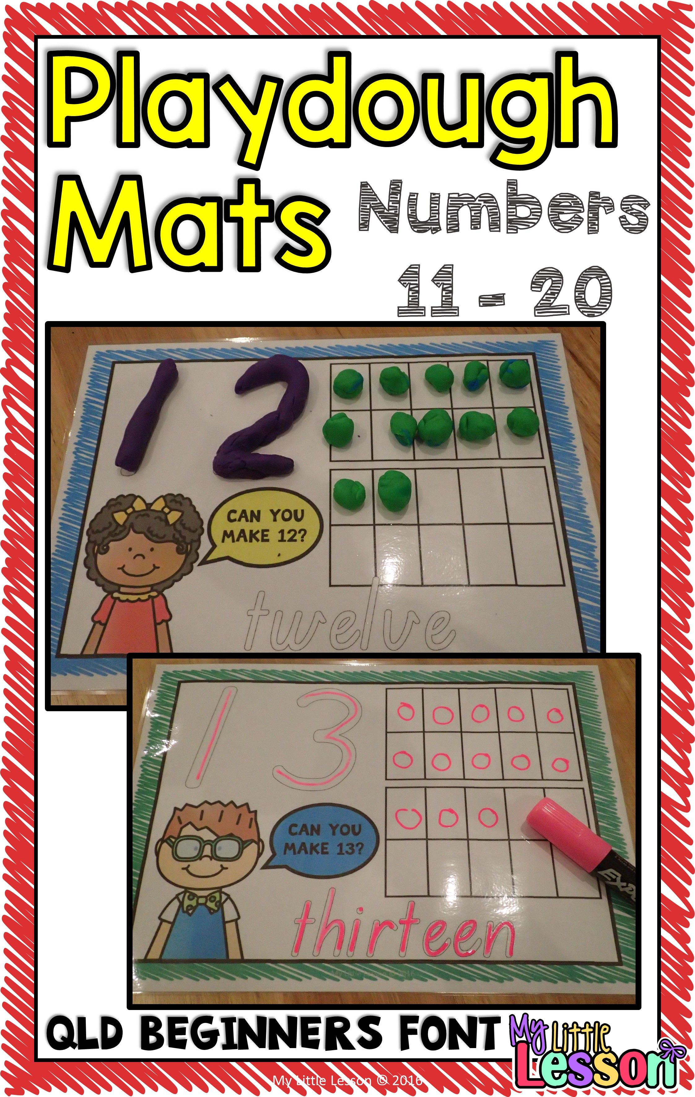 Playdough Mats Numbers 11 20 Qld Beginners Font