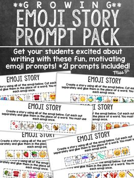 *Use for fun, motivating morning work or literacy centers!*Print one copy of the emoji prompt for each of your students. (Students will each get a  page slip.) Your students will take their slip of paper and cut out each of the emoji. They must then create a story (you create the requirements) using the emoji in place of actual words.