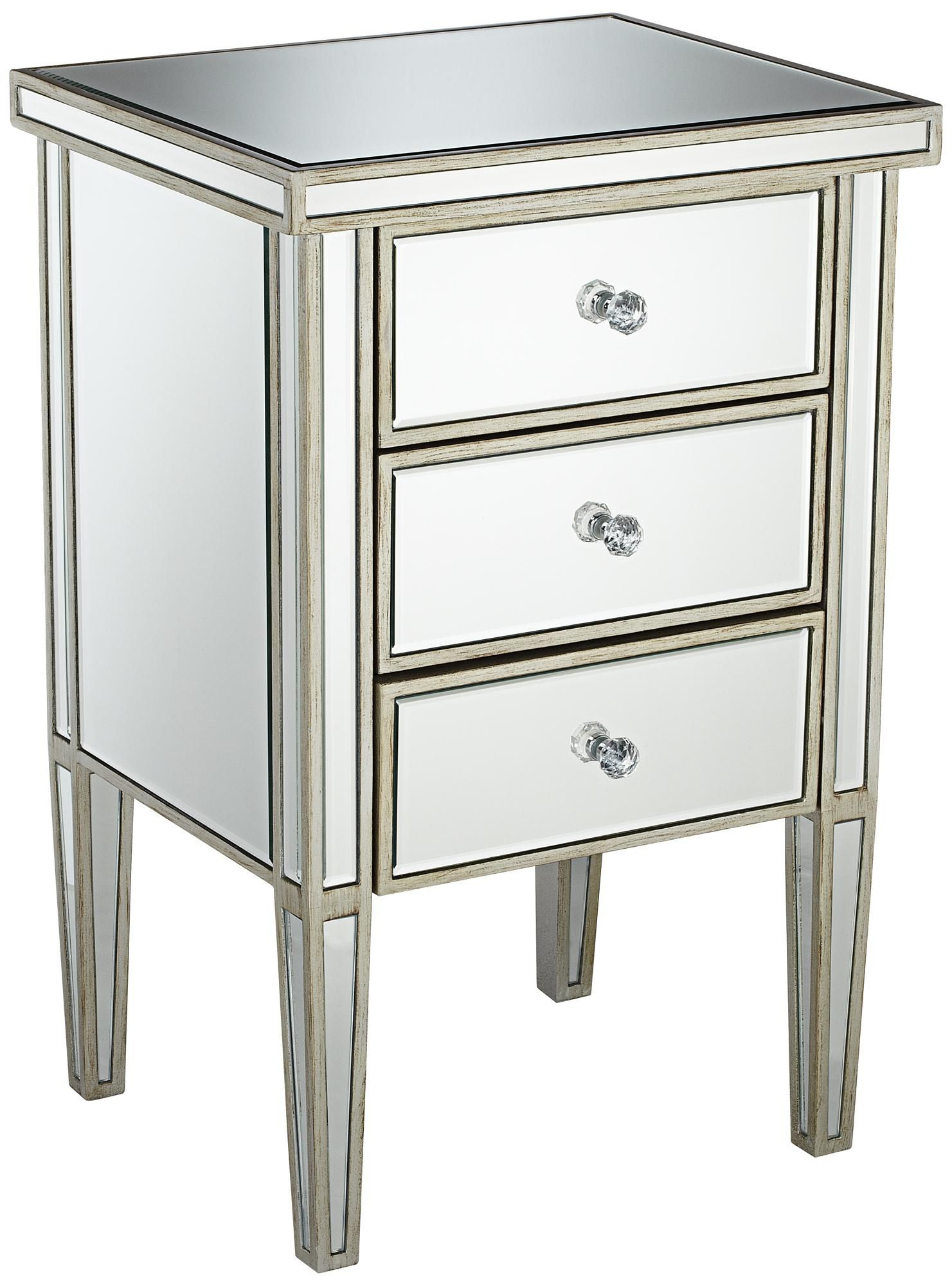 antique silver drawer mirrored nightstand   high   - antique silver drawer mirrored nightstand   high  wide