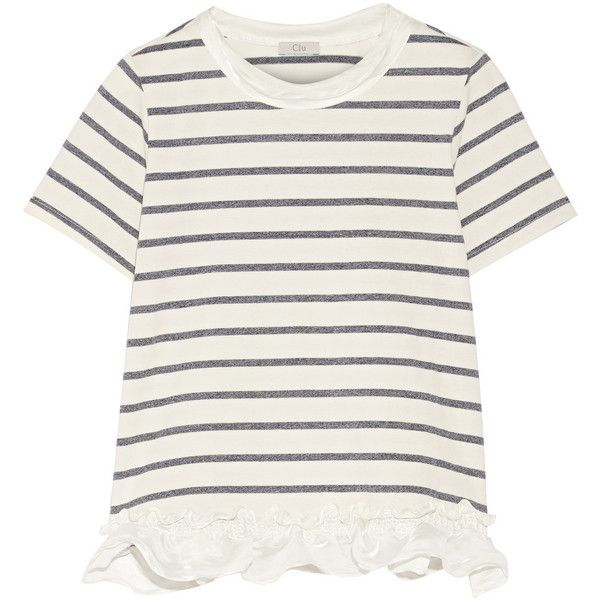 CLU Satin-trimmed striped cotton-blend jersey T-shirt (770 BRL) ❤ liked on Polyvore featuring tops, t-shirts, white, striped tee, clu, white top, white tee and flutter-sleeve top