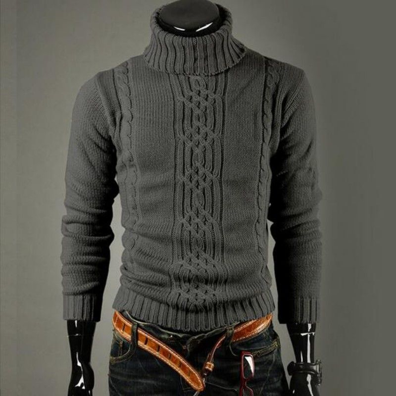 2017 Winter New Fashion Mens Turtleneck Sweaters Male Winter Warm ...