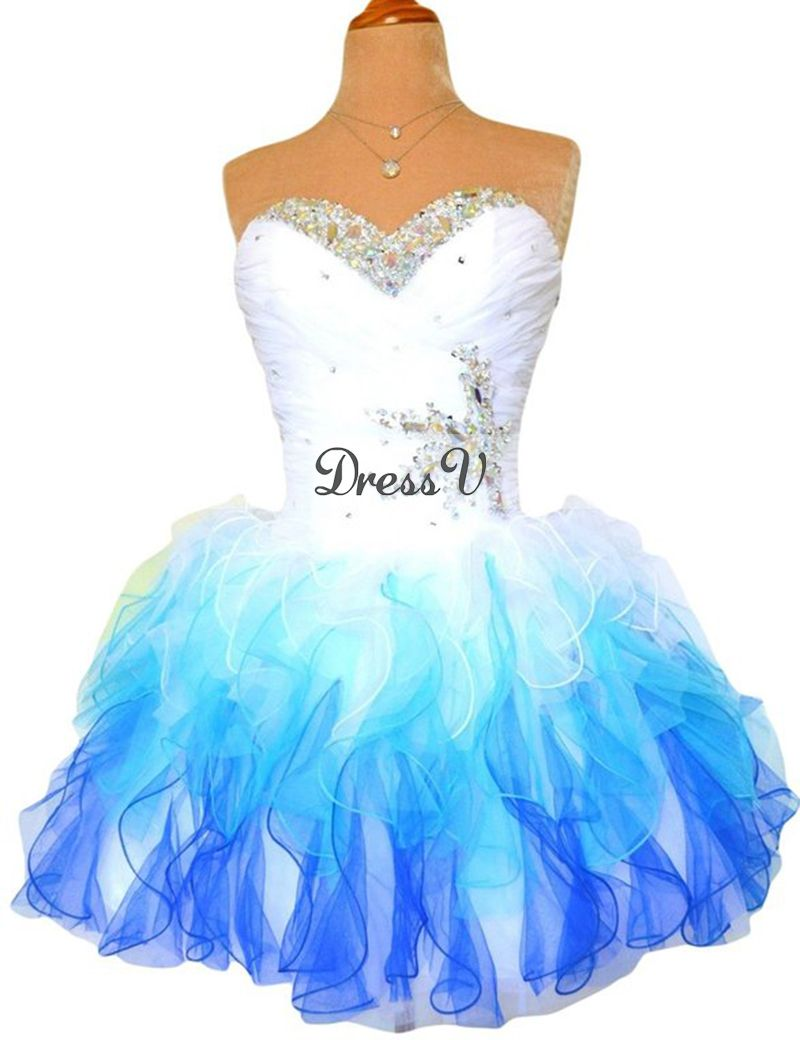 Sexy Ball Gown Tutu Short Cocktail Dresses 2016 Fashion White Blue ...