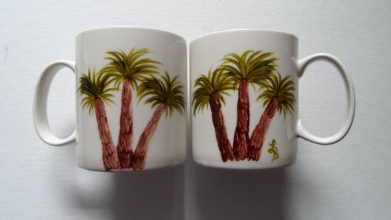 Palm Tree Cups Hand Painted Palm Tree Mugs by LisasPaintedCrafts