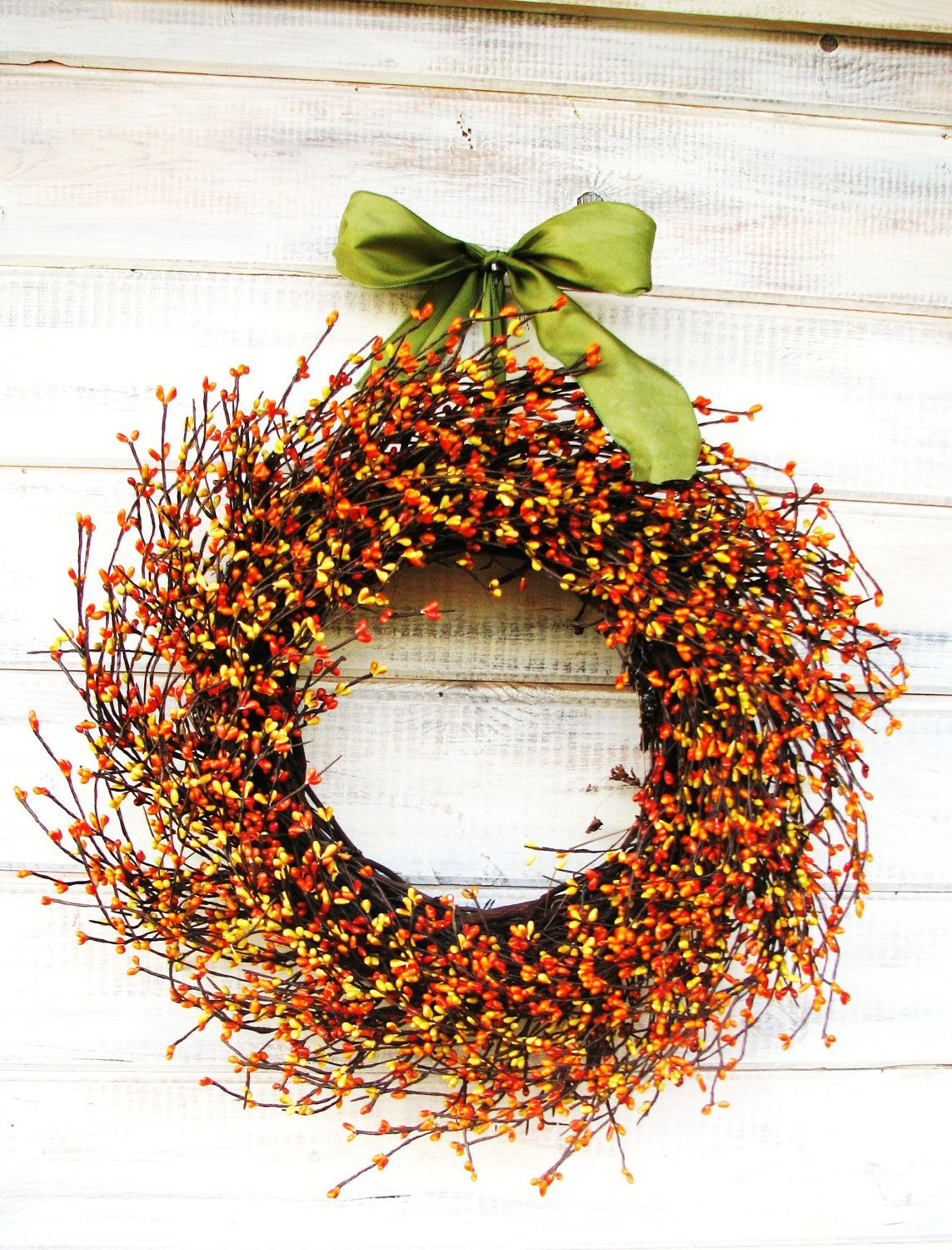 No fall front door is complete without a wreath. #countryliving ...