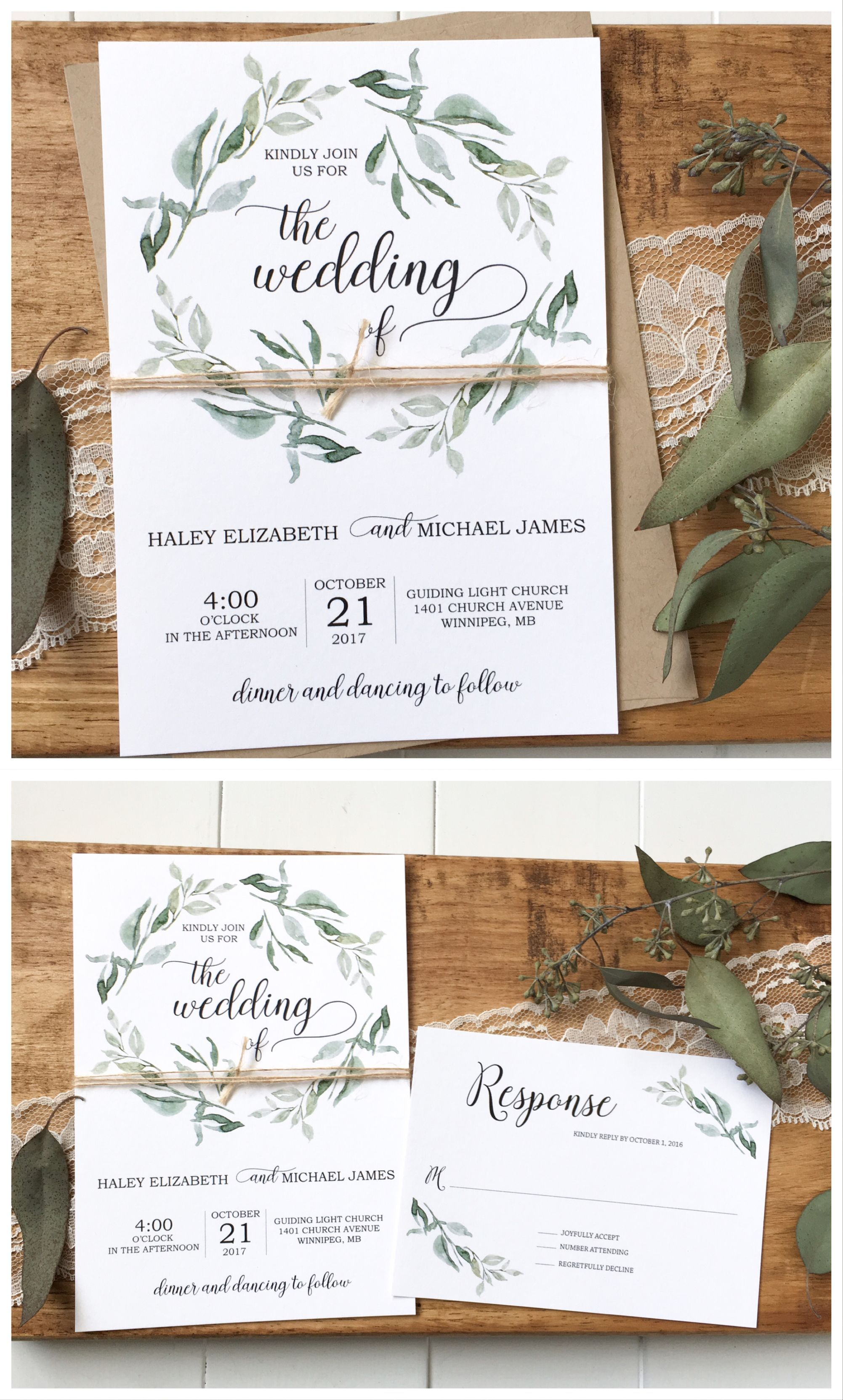 Green wedding invitation, greenery wedding, rustic wedding ...