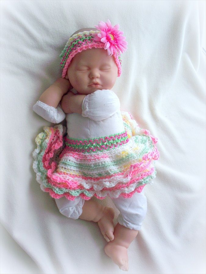 Baby Girl Pink warm Crochet Dress Headband Booties Christmas gift set 0-6Months