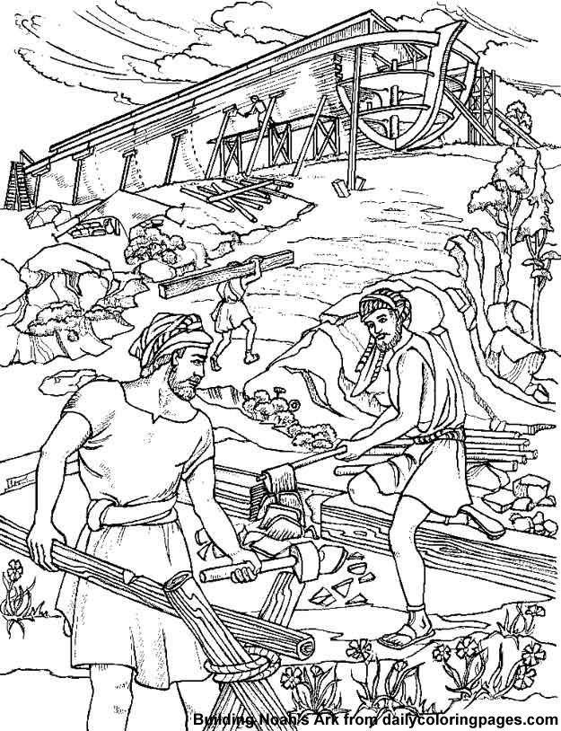 Noah Builds an Ark: building noahs ark bible coloring sheets ...