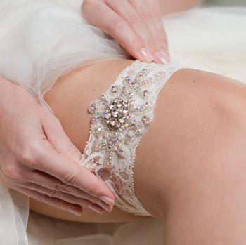 Strumpfband zur Hochzeit mit Glitzersteinen