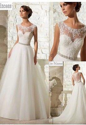 ea7df375c68c New White/Ivory Lace Wedding Dress Bridal Gown Size 6-16 UK ...