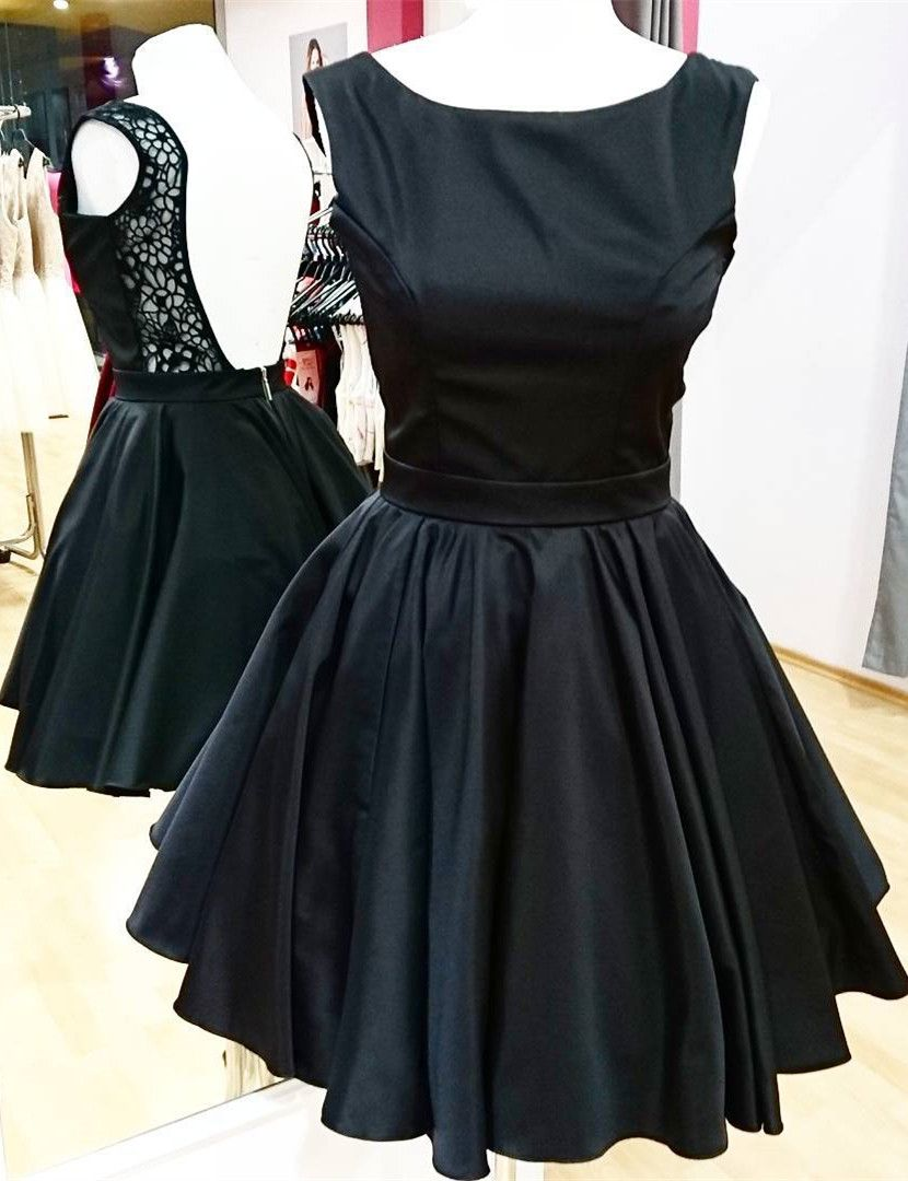 Aline bateua backless black satin homecoming dress with lace in