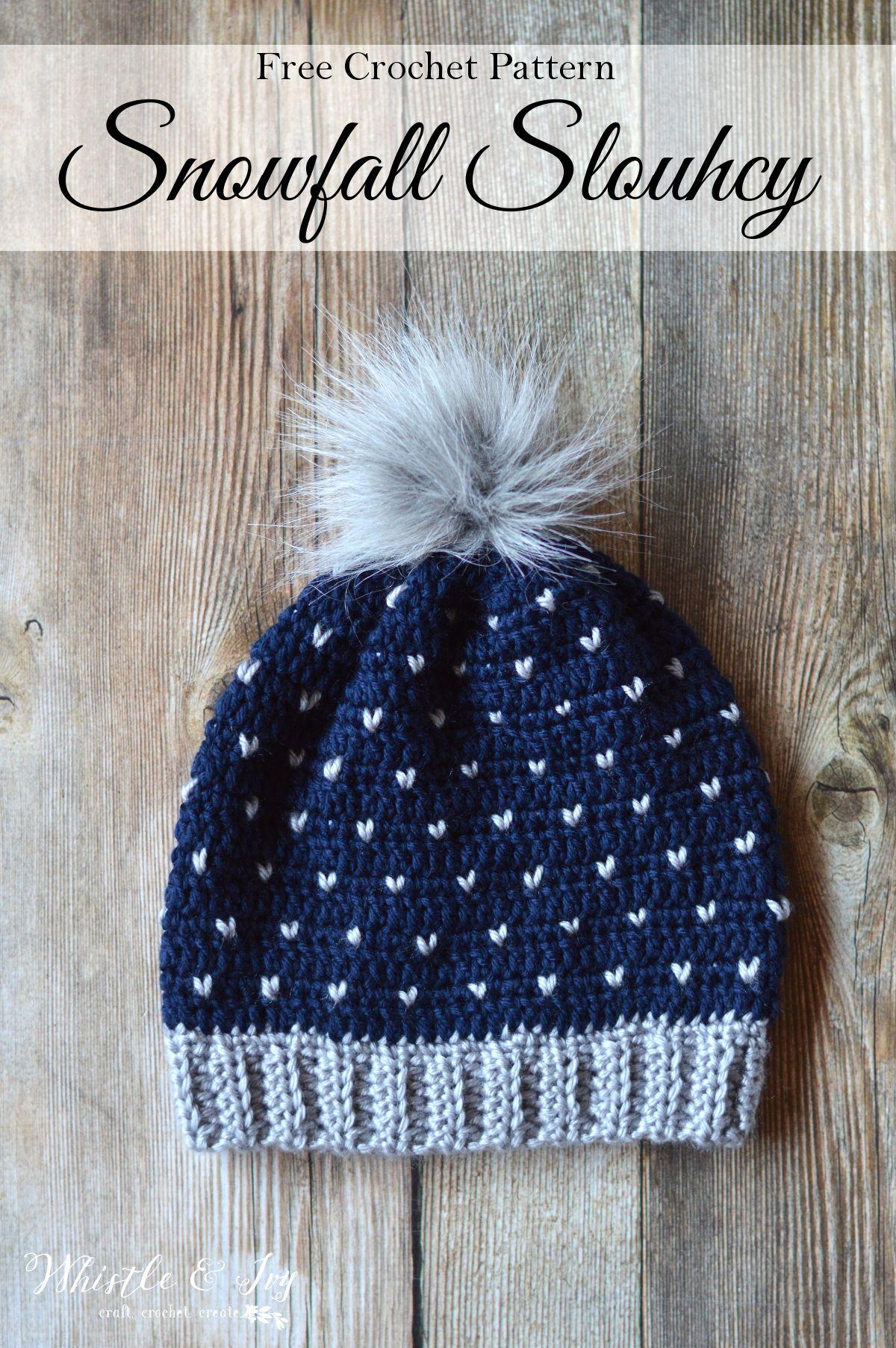Crochet Snowfall Slouchy Hat | Mütze, Häkeln und Stricken