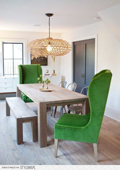 Dining room with green highback chairs in 2019 | Dining room ...