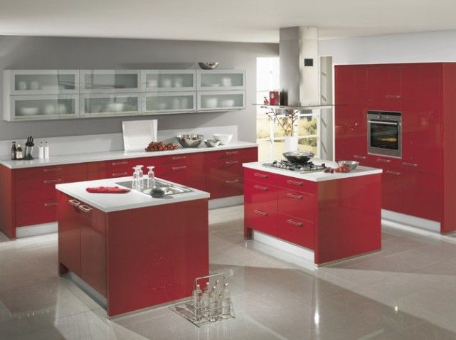 Ilot cuisine rouge interior home sweet home for Ilot blanc cuisine