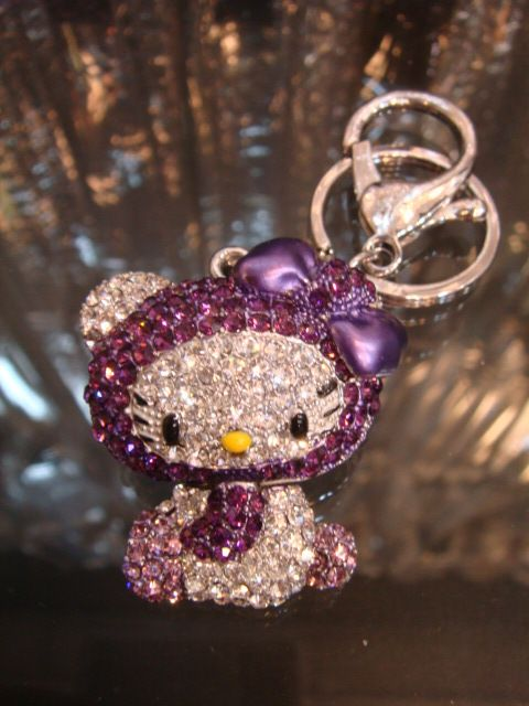 New Hello Kitty Keychain Purse Charm Swarovski Elements Crystals ... 5b4e0c8a2b021