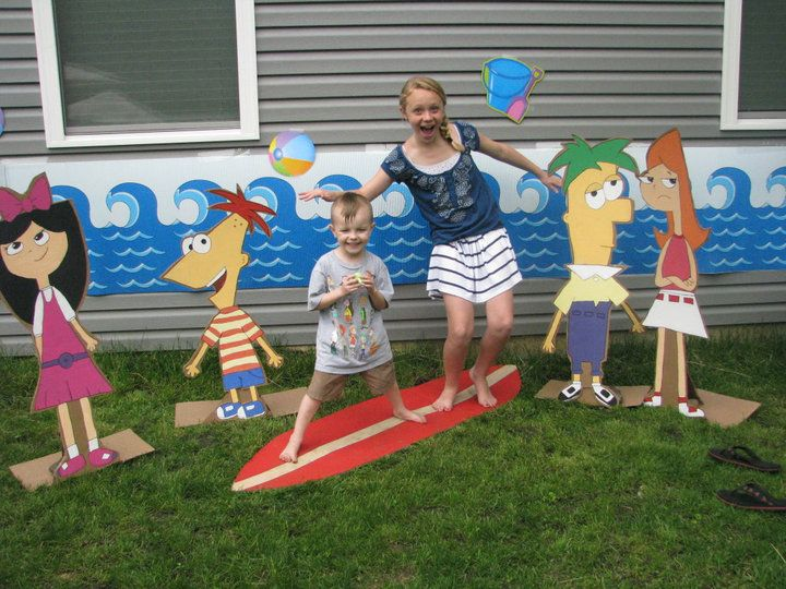 Backyard beach, Phineas and Ferb cut outs...   Kids ...