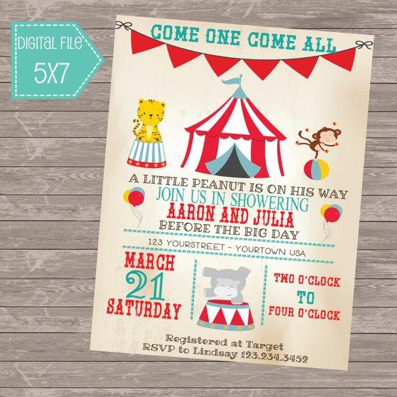 Vintage Circus Themed Baby Shower Invitation Digital 5x7 Card
