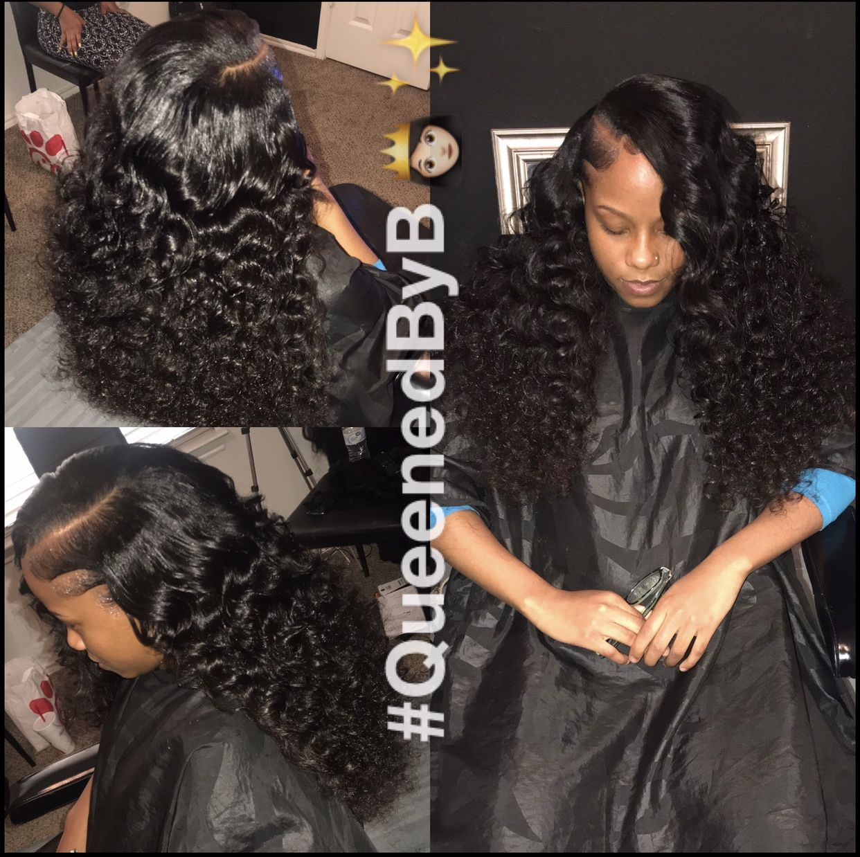 Sew In. Tight Curls. Leave Out. Side Part.