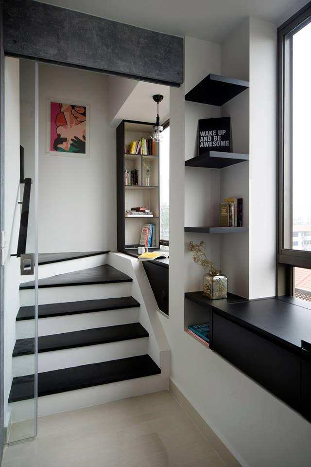 Vibes @ East Coast, Modern Condominium Interior Design, Stairs With Study  Or Reading Corner
