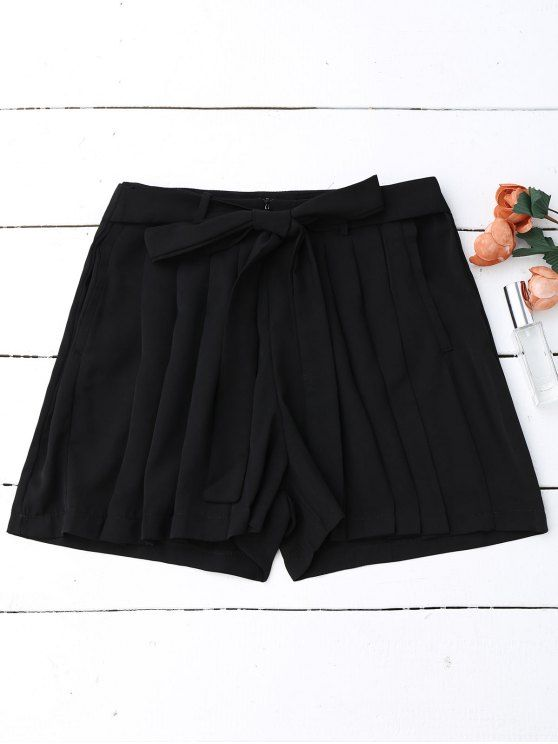 Pleated Skirted Wide Leg Shorts - BLACK L