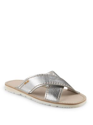 PRADA Metallic Leather Crisscross Slides. #prada #shoes #slides